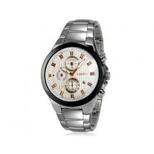 Kingsky 8838 Мужские кварцевые аналоговые часы с датой Дисплей & нержавеющая сталь Ремешок (белый) М.