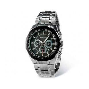Kingsky 8841 Мужская кварцевые аналоговые часы с датой Дисплей & нержавеющая сталь Ремешок (черный) М.