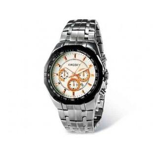 Kingsky 8841 Мужская кварцевые аналоговые часы с датой Дисплей & нержавеющая сталь Ремешок (белый) М.