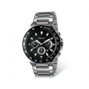 Kingsky 8839 Мужская кварцевые аналоговые часы с датой Дисплей & нержавеющая сталь Ремешок (черный) М.
