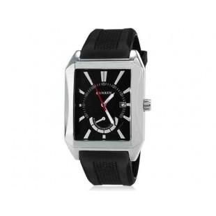 CURREN 8144 Мужская кварцевые аналоговые часы с датой Дисплей & каучуковый ремешок (черный) М.