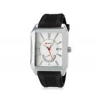 CURREN 8144 мужские кварцевые аналоговые часы с даты Дисплей & каучуковый ремешок (белый) М.