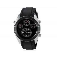 Curren 8141 Мужские Круглый Аналоговые часы с каучуковый ремешок (черный и серебро) М.