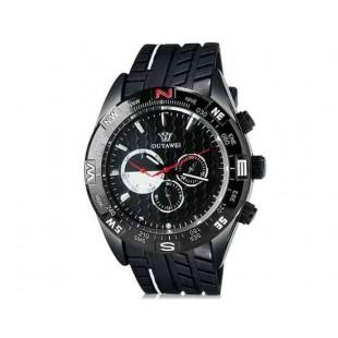 OUYAWEI 1212 Мужская кварцевые аналоговые часы с каучуковый ремешок (черный) М.