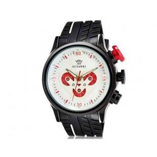 OUYAWEI 1210 Мужская Сердце Pattern Кварцевые аналоговые часы с каучуковый ремешок (белый) М.