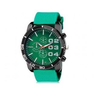 WoMaGe 1091 Мужская Аналоговые часы с силиконовым ремешком (зеленый) М.