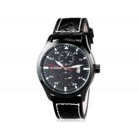 CURREN 8151 мужские Аналоговый кварцевый водостойкой наручные часы с функцией календаря и PU Кожаный ремешок (черный) М.