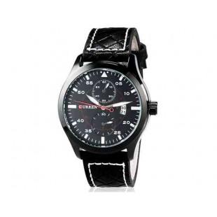 CURREN 8151 Мужская Аналоговый кварцевый водостойкой наручные часы с функцией календаря и PU Кожаный ремешок (черный) М.