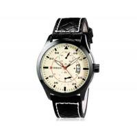 CURREN 8151 Unisex Аналоговый кварцевый водостойкой наручные часы с функцией календаря и PU кожаный ремешок (белый) М.