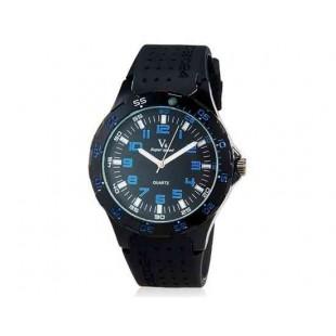 V6 Super Speed Мужская Аналоговый кварцевые наручные часы с большой циферблат Body & силиконовый ремешок (синий) М.