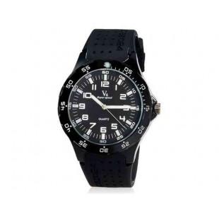 V6 Super Speed Мужская Аналоговый кварцевые наручные часы с большой циферблат Body & силиконовый ремешок (белый) М.