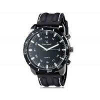 V6 Super Speed Большой циферблат Тип кузова мужские Аналоговый Кварцевые наручные часы с Количество знаков и силиконовой лентой (черный) М.