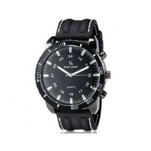 V6 Super Speed Большой циферблат Тип кузова Мужская Аналоговый Кварцевые наручные часы с Количество знаков и силиконовой лентой (черный) М.