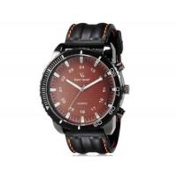 V6 Super Speed Большой Face Наберите Тип кузова Unisex аналогового кварцевые наручные часы с Количество знаков и силиконовой лентой (коричневый) М.