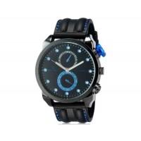 V6 Super Speed Мода мужские Большой лица Двойной циферблат Тип кузова Аналоговый Кварцевые наручные часы с силиконовой лентой (синий) М.