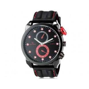 V6 Super Speed Мода Мужская Большой лица Двойной циферблат Тип кузова Аналоговый Кварцевые наручные часы с силиконовой лентой (красный) М.
