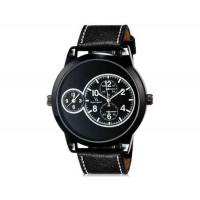 V6 Super Speed Мода мужские Двойной циферблат аналогового Кварцевые наручные часы с большой циферблат Body & PU Кожаный ремешок (черный) М.