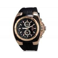 V6 Super Speed V0048 мужские Модные наручные часы с функцией календаря и ТПУ резинкой (Золотой)