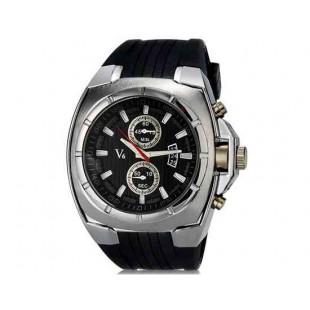 V6 Super Speed V0048 Мужская Модные наручные часы с функцией календаря и ТПУ резинкой (черный)