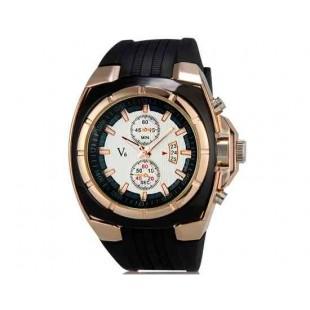 V6 Super Speed V0048 Мужская Модные наручные часы с функцией календаря и ТПУ резинкой (белый)