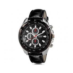 DINIHO 5002G Мужская модная Аналоговый кварцевый Большой набор водостойкой наручные часы с искусственной кожи оркестра (черный)