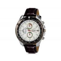 DINIHO 5002G мужские модные Кварцевый Большой набор водостойкой наручные часы с Faux кожаный оркестра (белый)