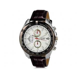 DINIHO 5002G Мужская модная Кварцевый Большой набор водостойкой наручные часы с Faux кожаный оркестра (белый)