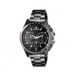 DINIHO 8015G Мужская модная Аналоговый водостойкой нержавеющей стали наручные часы с Стальной браслет (черный)