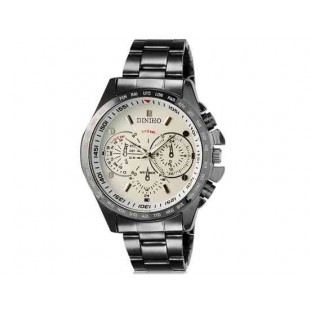 DINIHO 8015G Мужская модная Аналоговый водостойкой нержавеющей стали наручные часы с Стальной браслет (белый)