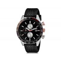 WeiYaQi 89009 мужские мода Кварцевый Большой циферблат наручных часов с календарем и резинкой (Black)