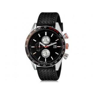WeiYaQi 89009 Мужская мода Кварцевый Большой циферблат наручных часов с календарем и резинкой (Black)