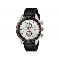 WeiYaQi 89009 мужские мода Кварцевый Большой циферблат наручных часов с календарем и резинкой (белый)