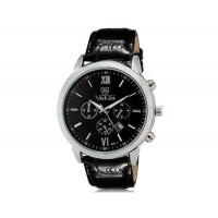 VALIA  8601 мужские модные Аналоговый Большой набор водостойкой наручные часы с функцией календаря и искусственной кожи оркестра (черный)