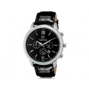 Валя 8601 Мужская модная Аналоговый Большой набор водостойкой наручные часы с функцией календаря и искусственной кожи оркестра (черный)