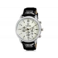 VALIA  8601 мужские модные Аналоговый Большой набор водостойкой наручные часы с функцией календаря и Faux кожаный оркестра (белый)