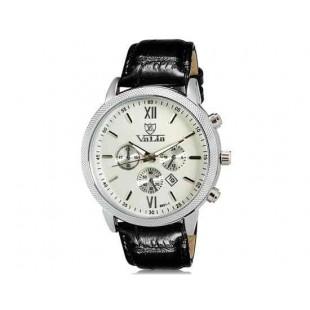 Валя 8601 Мужская модная Аналоговый Большой набор водостойкой наручные часы с функцией календаря и Faux кожаный оркестра (белый)
