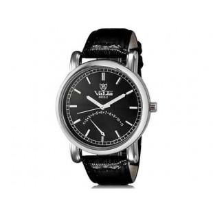 Валя 8602-1 Мужская модная Аналоговый водостойкой наручные часы с Faux кожаный Band (черный)