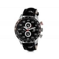 WeiYaQi 89009 мужские модные Аналоговый кварцевый Большой циферблат наручных часов с функцией календаря и искусственной кожи оркестра (черный)