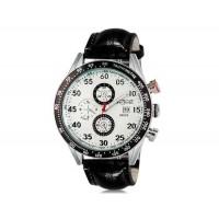 WeiYaQi 89009 мужские модные Кварцевый Большой циферблат наручные часы с функцией календаря и Faux кожаный Band (белый)