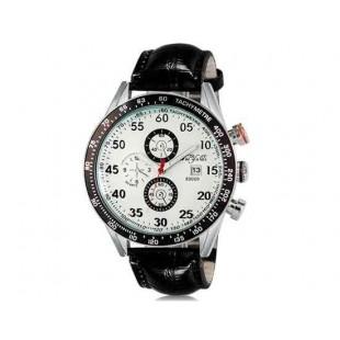WeiYaQi 89009 Мужская модная Кварцевый Большой циферблат наручные часы с функцией календаря и Faux кожаный Band (белый)