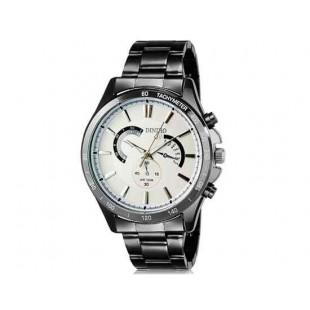 DINIHO 8011G Мужская модная Аналоговый нержавеющей стали наручные часы с Weekly Показать & Стальной браслет (белый)