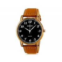 DINIHO 5024G мужские модные Аналоговый кварцевый водостойкой наручные часы с Faux кожаный Band (черный)