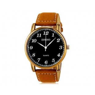 DINIHO 5024G Мужская модная Аналоговый кварцевый водостойкой наручные часы с Faux кожаный Band (черный)