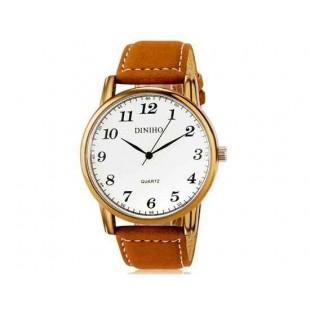 DINIHO 5024G Мужская модная Аналоговый кварцевый водостойкой наручные часы с искусственной кожаный ремешок (белый)