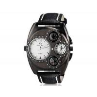 V6 Super Speed V0182 мужские модные двойного Движение Аналоговый кварцевые наручные часы с большой циферблат тела & Компас (черный)