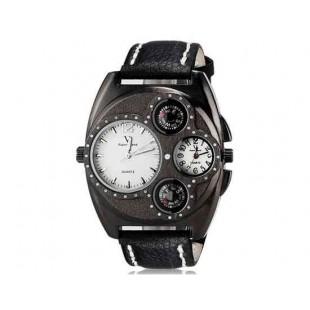 V6 Super Speed V0182 Мужская модная двойного Движение Аналоговый кварцевые наручные часы с большой циферблат тела & Компас (черный)