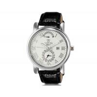 VALIA  8602-1 мужские модные Аналоговый Большой набор водостойкой наручные часы с функцией календаря, римские цифры и Faux кожаный Band (белый)