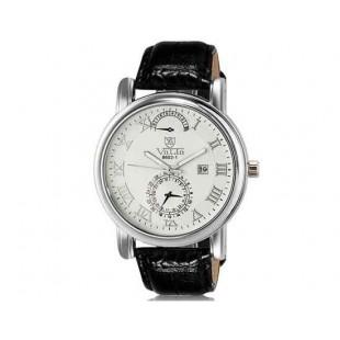 Валя 8602-1 Мужская модная Аналоговый Большой набор водостойкой наручные часы с функцией календаря, римские цифры и Faux кожаный Band (белый)