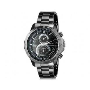 DINIHO 8012G Мужская аналоговые наручные часы с нержавеющей стальной лентой (черный)