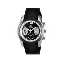 VALIA  8136 мужские модные Аналоговый кварцевый водостойкой наручные часы с функцией календаря и ТПУ резинкой (черный)